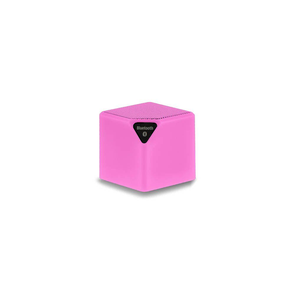 Caixa de Som Multilaser SmarTo GO SP307 Rosa Cubo Speaker Bluetooth com Entrada para Cartão Micro SD
