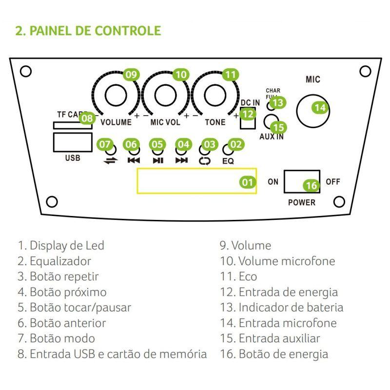 Caixa de Som Multilaser SP289 Bluetooth 80W RMS com Bateria Rádio FM Entrada USB Micro SD AUX