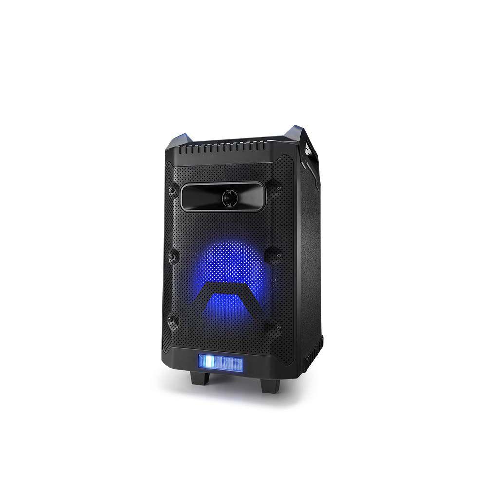 Caixa De Som Multilaser SP299 Torre Disco Light 150W Bluetooth com Bateria Microfone Rádio FM USB SD