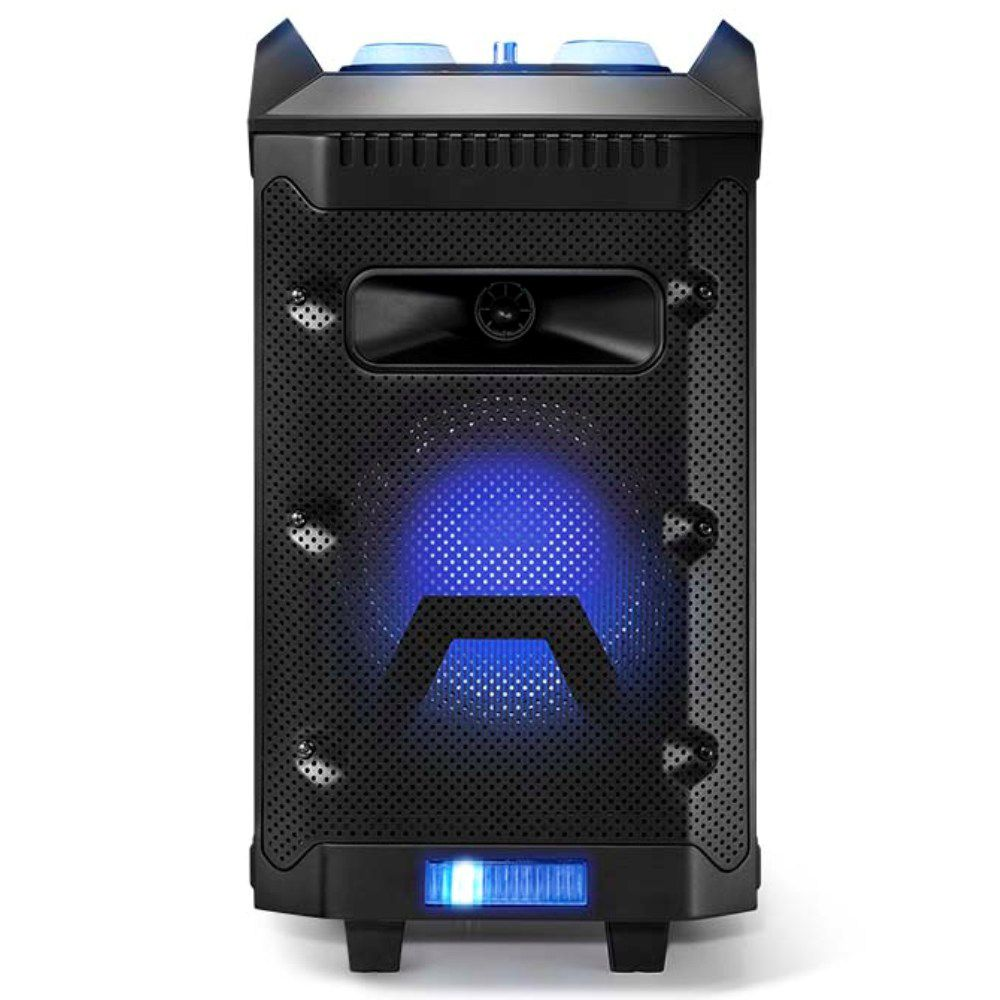 Caixa De Som Multilaser SP299 Torre Disco Light 150W Bluetooth com Bateria Microfone Rádio FM USB SD