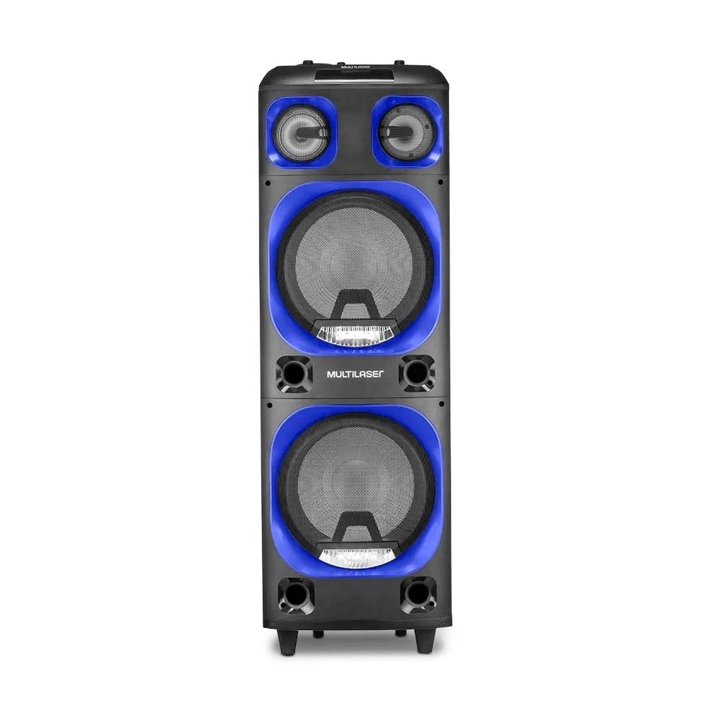 Caixa de Som Multilaser SP343 Torre Double 2000W Stereo Bluetooth Rádio FM AUX USB SD P10 Luzes LED
