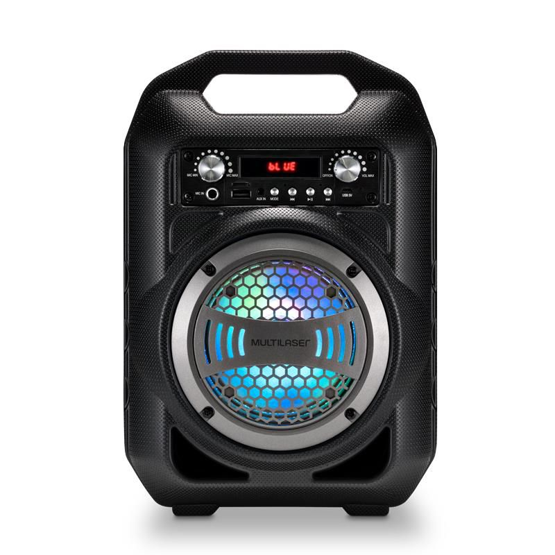 Caixa De Som Portátil Multilaser SP256 Bluetooth MP3 Player Rádio FM Com Bateria