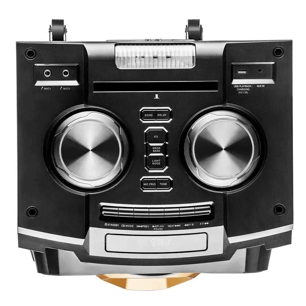 Caixa de Som Pulse SP360 Torre Double 1600W Stereo Bluetooth Efeitos LED Rádio FM AUX RCA USB P10