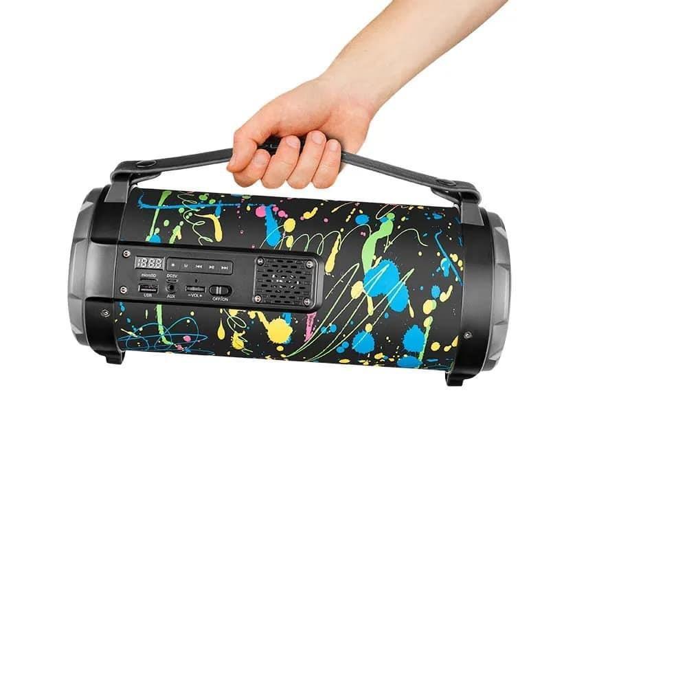 Caixa de Som Pulse SP361 Bazooka Paint Blast 80W Bluetooth Rádio FM USB Micro SD AUX P10 Efeito LED