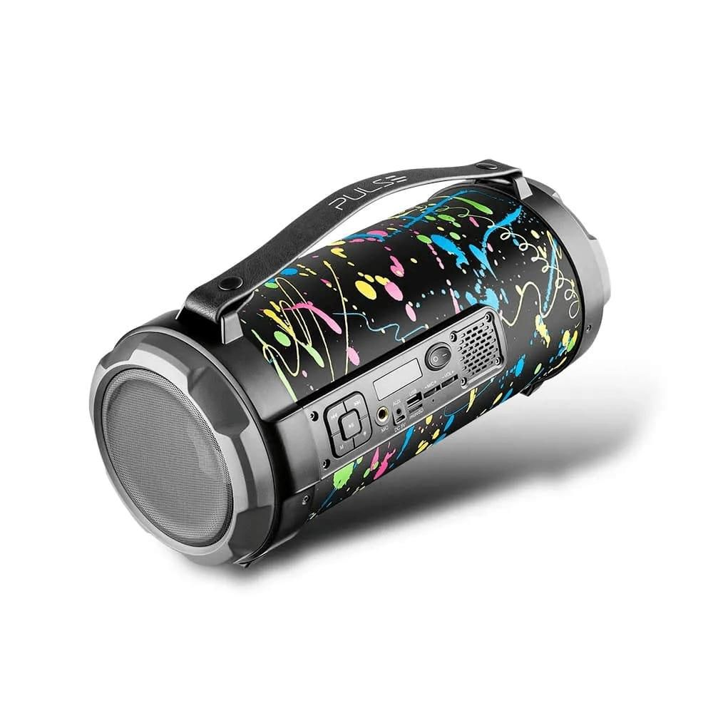 Caixa de Som Pulse SP362 Bazooka Paint Blast 120W Bluetooth Rádio FM USB Micro SD AUX P10 Efeito LED