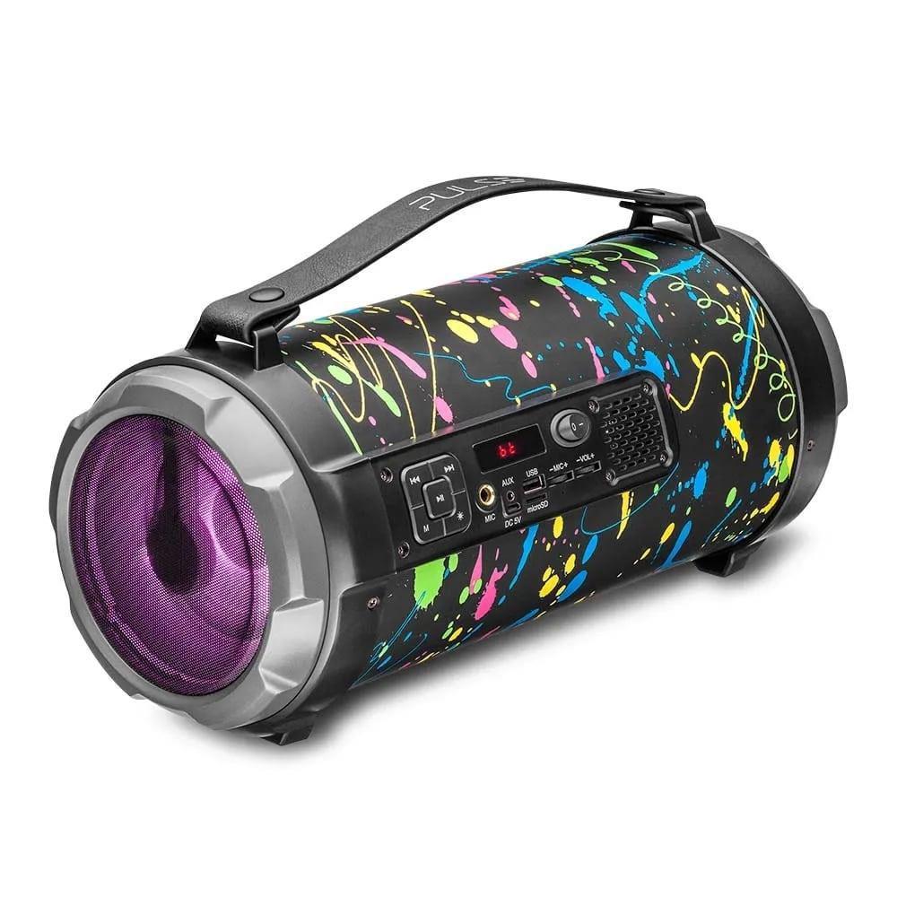 Caixa de Som Pulse SP362 Bazooka Paint Blast 120W Bluetooth Rádio FM USB Micro SD AUX P10 Efeito LED