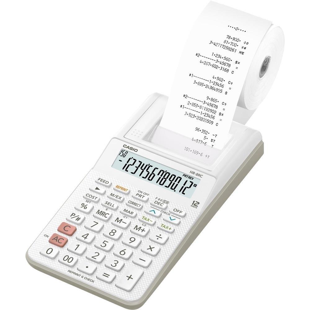 Calculadora Casio HR-8RC Branca Com Impressora Fonte Bivolt Bobina para Impressão Reimpressão 2ª Via