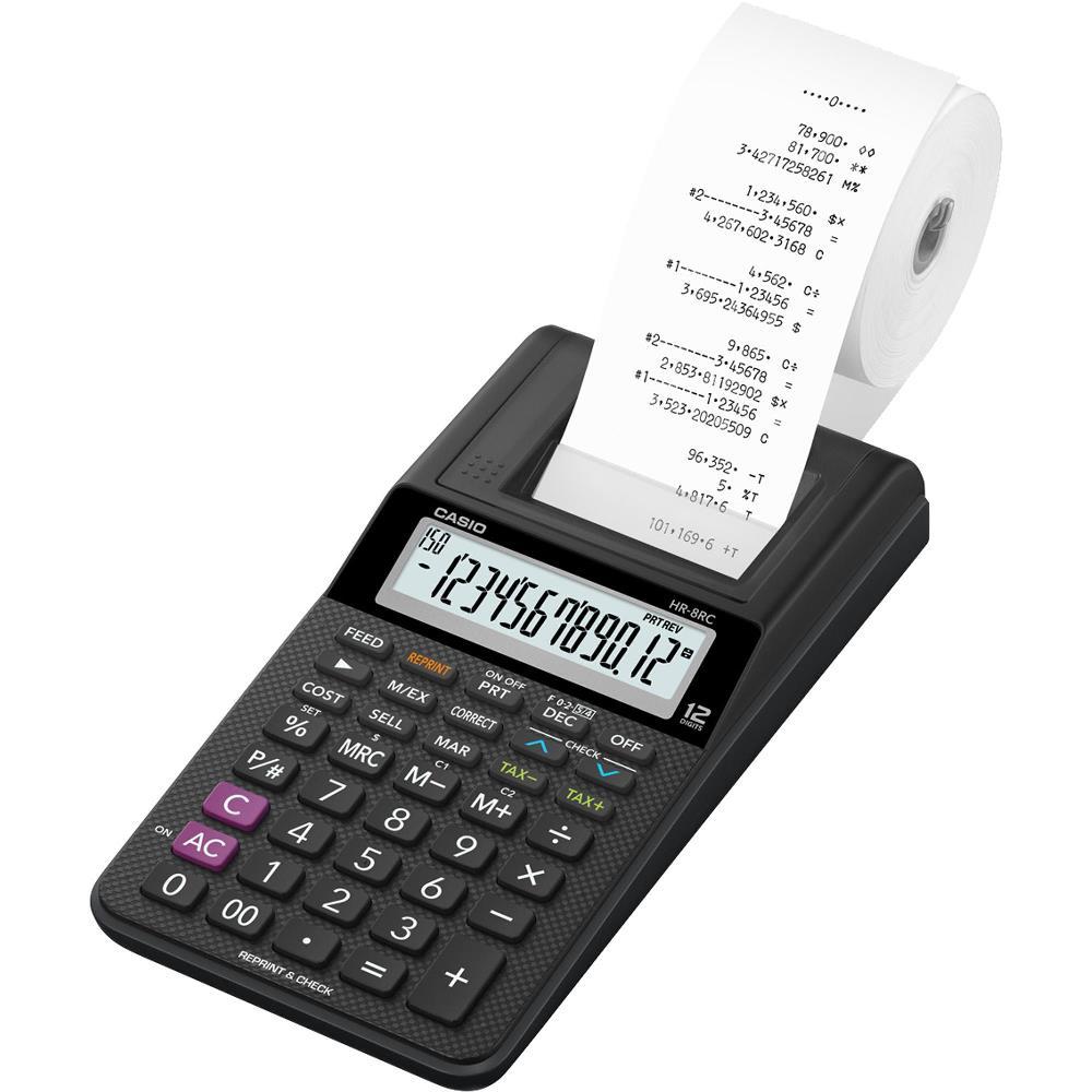 Calculadora Casio HR-8RC Preta Com Impressora Fonte Bivolt Bobina para Impressão Reimpressão 2ª Via