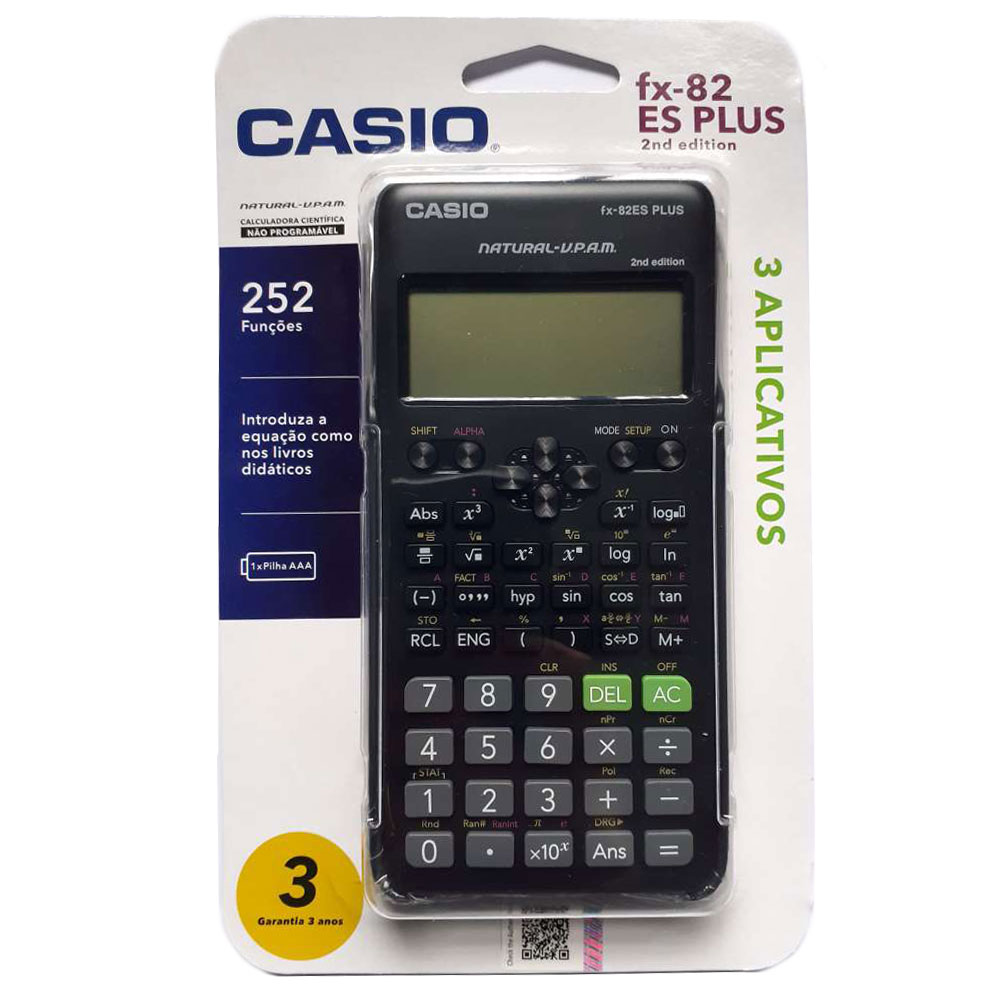 Calculadora Científica Casio FX-82ES Plus 2nd Edition 252 Funções Natural VPAM FX82ES FX82ESPLUS