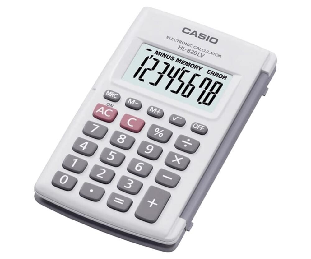 Calculadora de Bolso CASIO HL-820LV Branca com Tampa 8 Dígitos Visor Grande Calculadora Pequena