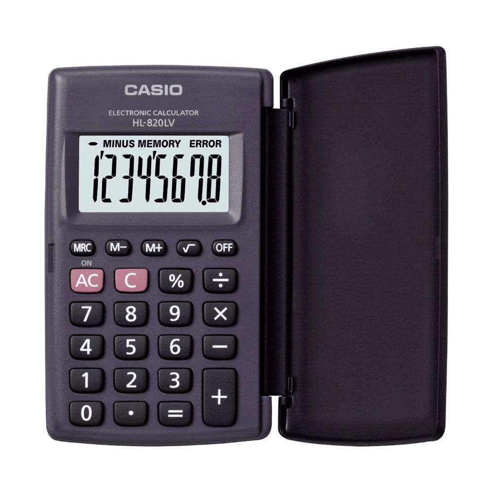 Calculadora de Bolso CASIO HL-820LV Preta com Tampa 8 Dígitos Visor Grande Calculadora Pequena