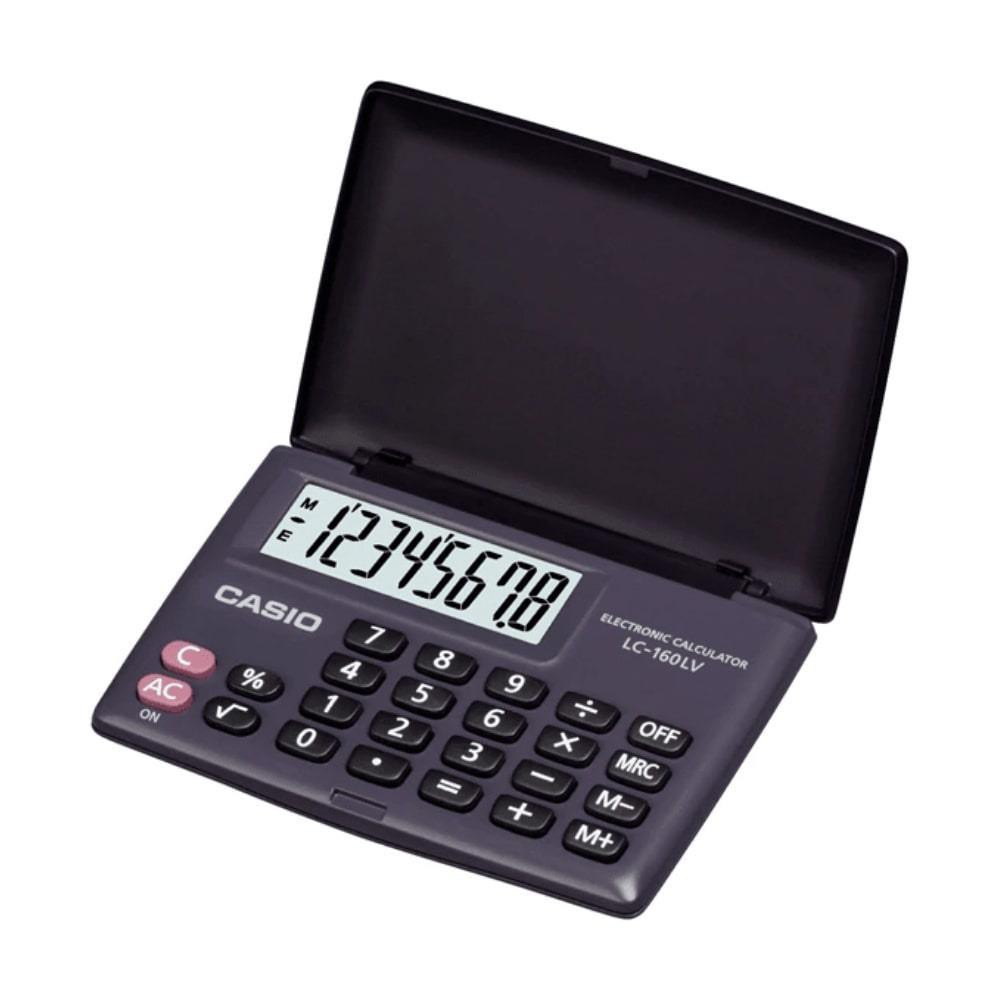 Calculadora de Bolso CASIO LC-160LV Preta com Tampa 8 Dígitos Visor Grande Calculadora Pequena