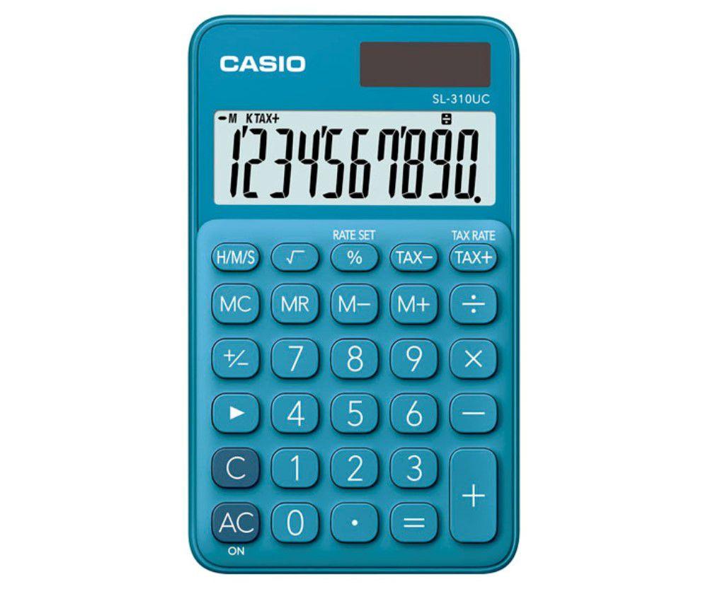 Calculadora de Bolso CASIO SL-310UC Azul 10 Dígitos Visor Grande Solar Bateria Função Taxa SL310UC