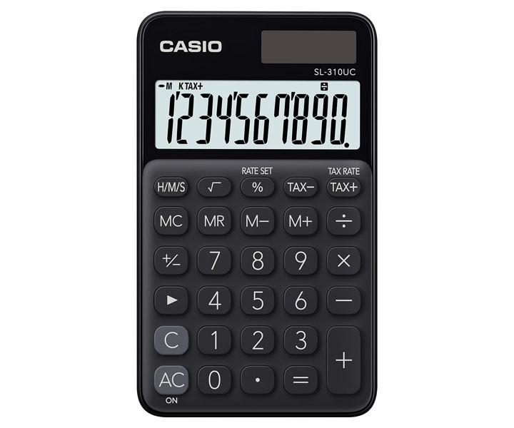 Calculadora de Bolso CASIO SL-310UC Preta 10 Dígitos Visor Grande Solar Bateria Função Taxa SL310UC