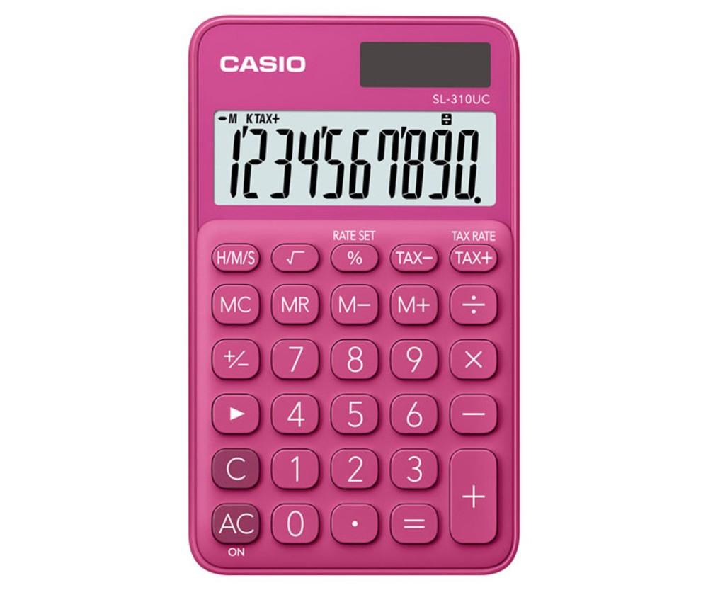 Calculadora de Bolso CASIO SL-310UC Rosa 10 Dígitos Visor Grande Solar Bateria Função Taxa SL310UC