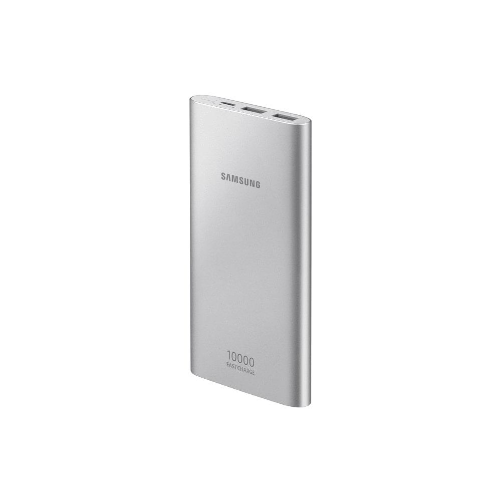 Carregador Portátil Samsung 10000mAh Prata Power Bank Universal USB Carga Rápida AFC + Cabo Tipo C