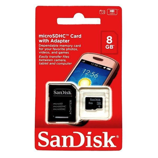Cartão de Memória SanDisk Micro SD 8 GB + Adaptador