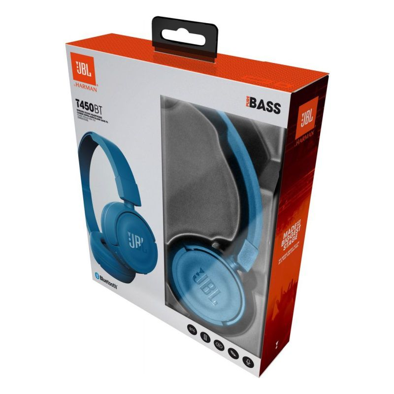 Fone de Ouvido Bluetooth JBL T450BT PureBass Azul
