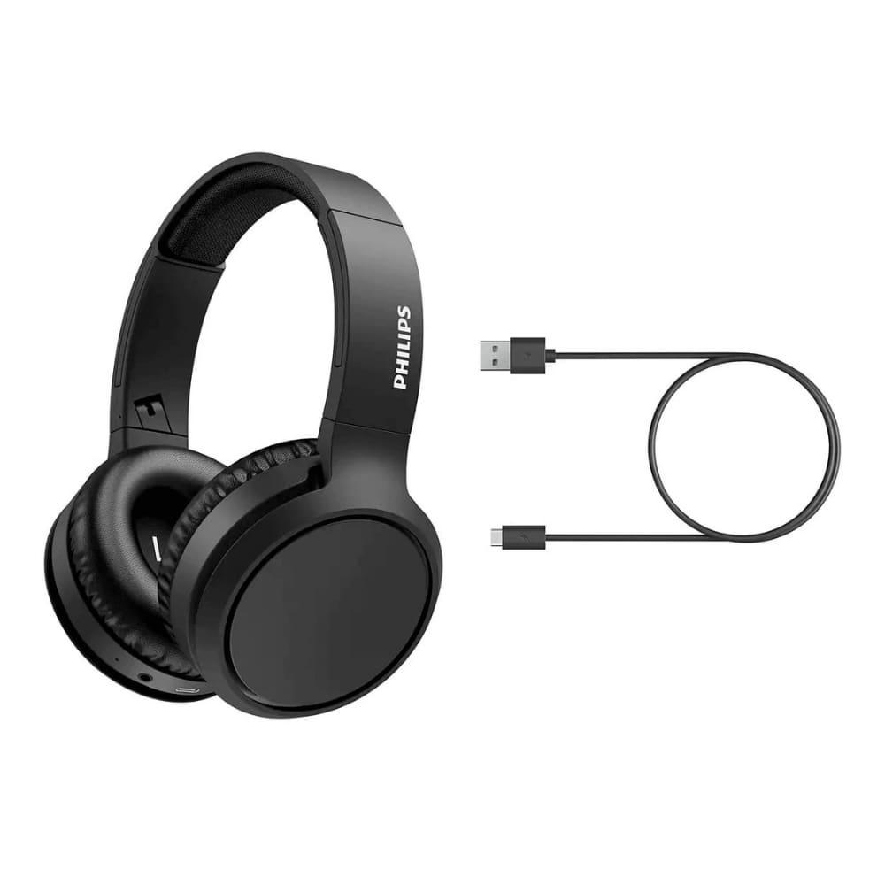 Fone de Ouvido Bluetooth Philips TAH5205 Preto Over Ear Sem Fio Microfone Grave Potente TAH5205BK/00