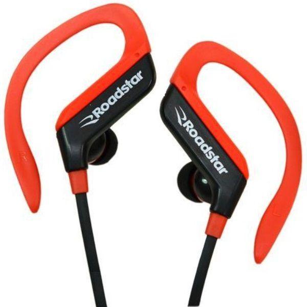 Fone de Ouvido Bluetooth Roadstar RS-110EPB Preto com Vermelho Headset para Android e iOS