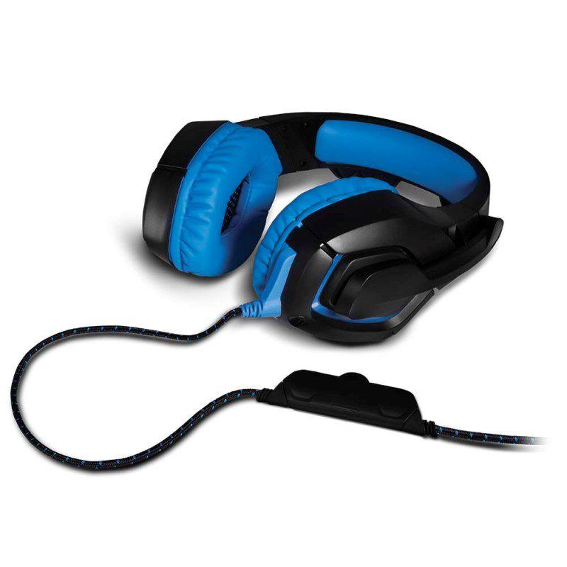 Fone de Ouvido com Microfone Multilaser PH244 Azul Headset Gamer Warrior Straton para PC PS4