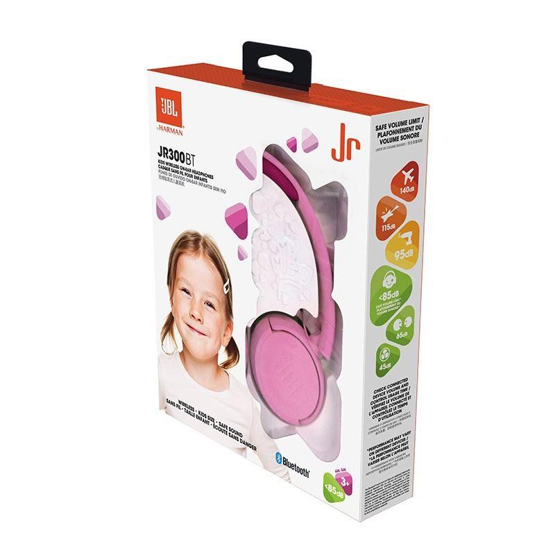 Fone de Ouvido Infantil JBL JR300BT Bluetooth Rosa Sem Fio com Limitador de Volume 85dB para Criança