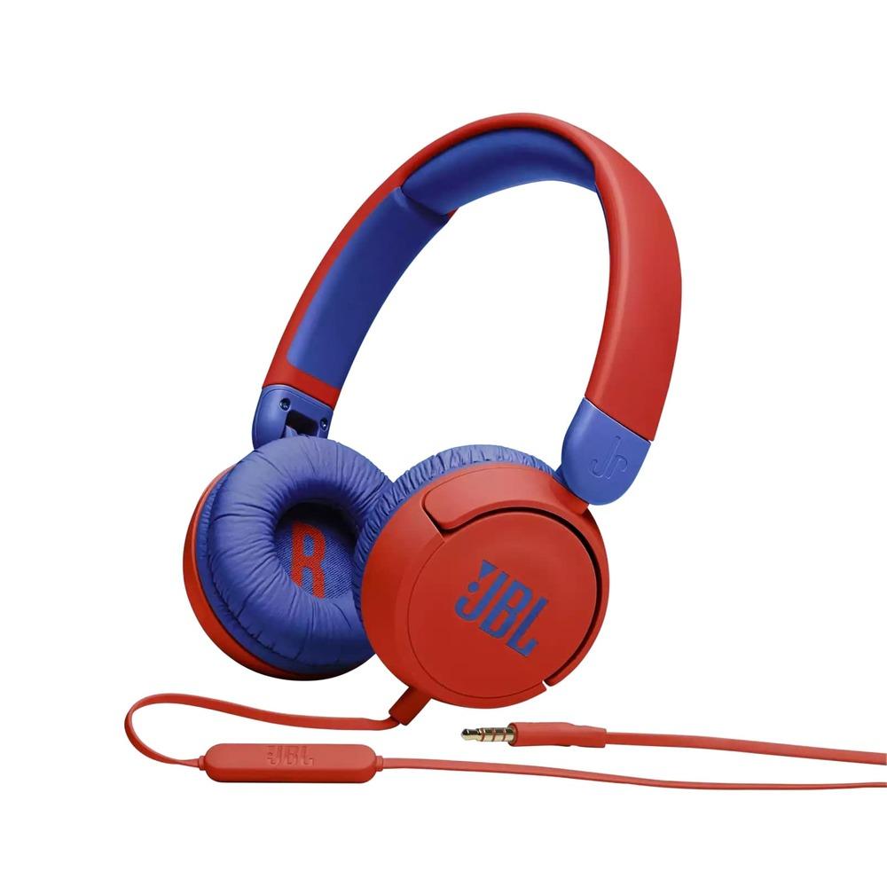 Fone de Ouvido Infantil JBL JR310 Vermelho Azul com Microfone Limitador de Volume 85dB para Criança
