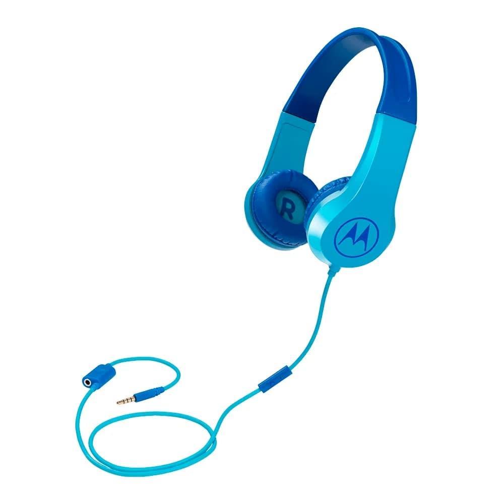Fone de Ouvido Infantil Motorola Squads 200 Azul com Microfone Limitador de Volume 85dB para Criança