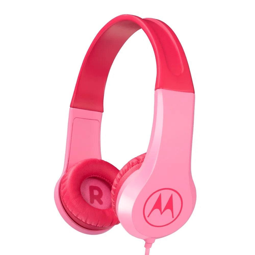 Fone de Ouvido Infantil Motorola Squads 200 Rosa com Microfone Limitador de Volume 85dB para Criança