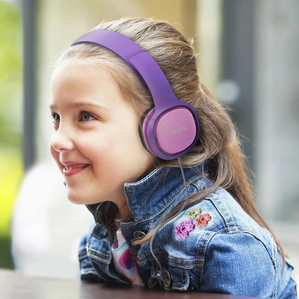 Fone de Ouvido Infantil Philips SHK2000 Rosa Roxo Limitador de Volume 85dB para Criança SHK2000PK/00