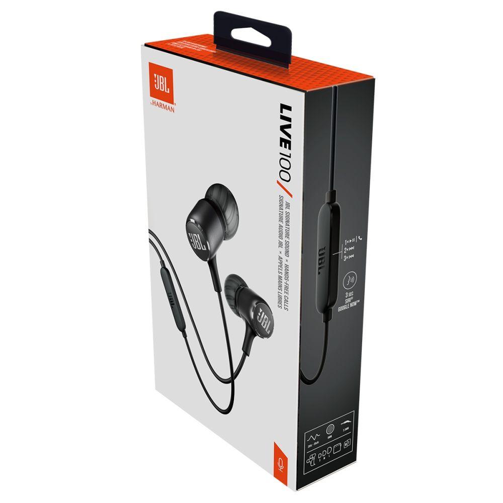 Fone de Ouvido JBL Live 100 Preto com Microfone Controle para Atender Chamadas