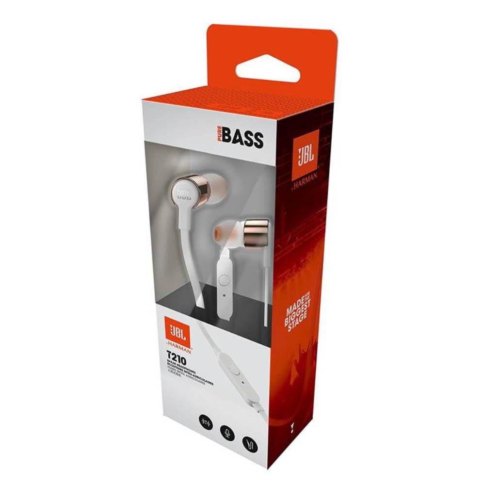 Fone de Ouvido JBL T210 RGD Branco Dourado Rosê Intra Auricular com Microfone e Controle