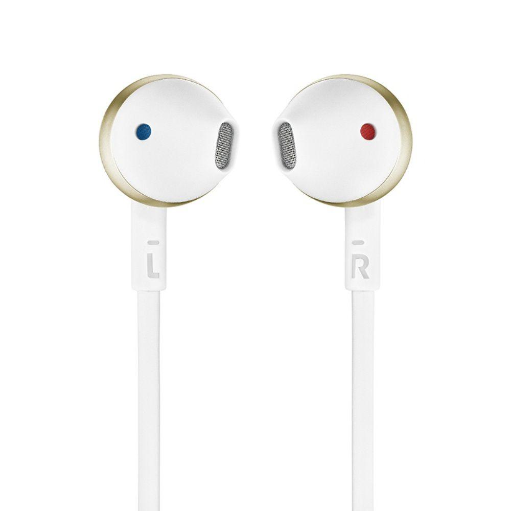 Fone de Ouvido JBL Tune 205 BT CGD Bluetooth Branco Dourado Pure Bass Earbuds Sem Fio Com Microfone e Controle