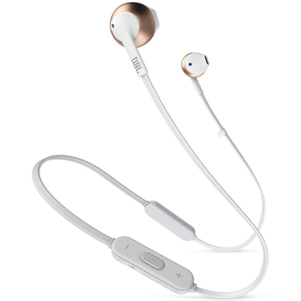 Fone de Ouvido JBL Tune 205 BT RGD Bluetooth Branco Dourado Rosê Pure Bass Earbuds Sem Fio Com Microfone e Controle