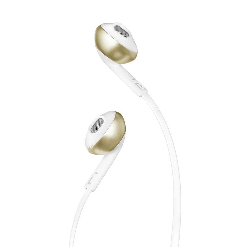 Fone de Ouvido JBL Tune 205 Earbud Branco com Dourado