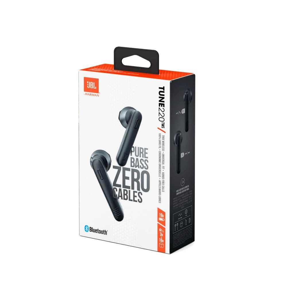 Fone de Ouvido JBL Tune 220TWS Preto Pure Bass Bluetooth Earbuds Totalmente Sem Fios JBLT220TWSBLK