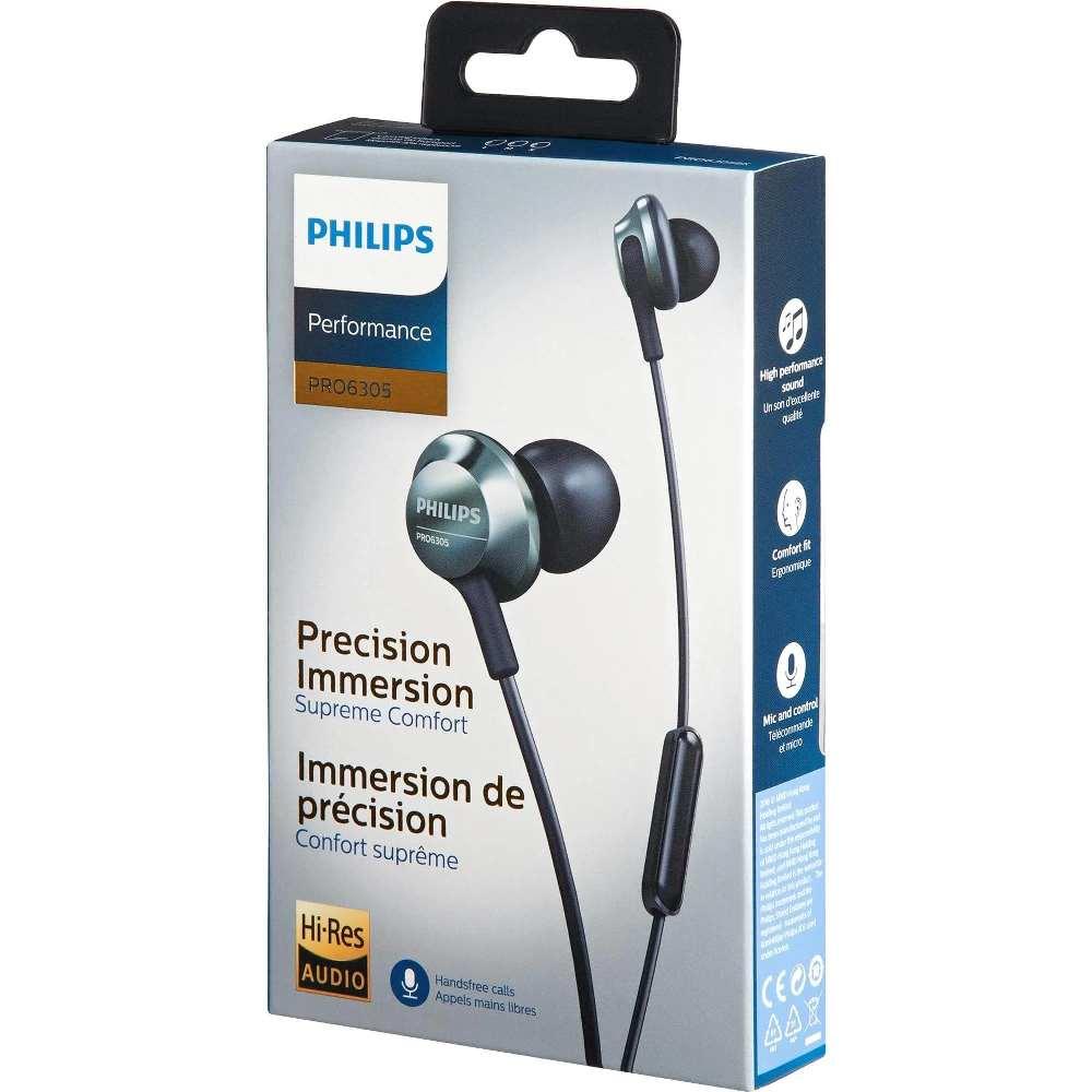 Fone de Ouvido Philips PRO6305 Preto Performance Profissional Hi-Res Audio c/ Microfone PRO6305BK/00