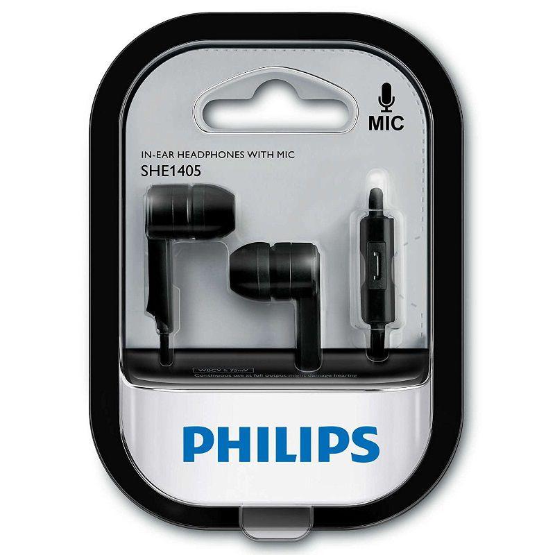 Fone de Ouvido Philips SHE1405 Preto Com Microfone e Controle Atender Chamadas