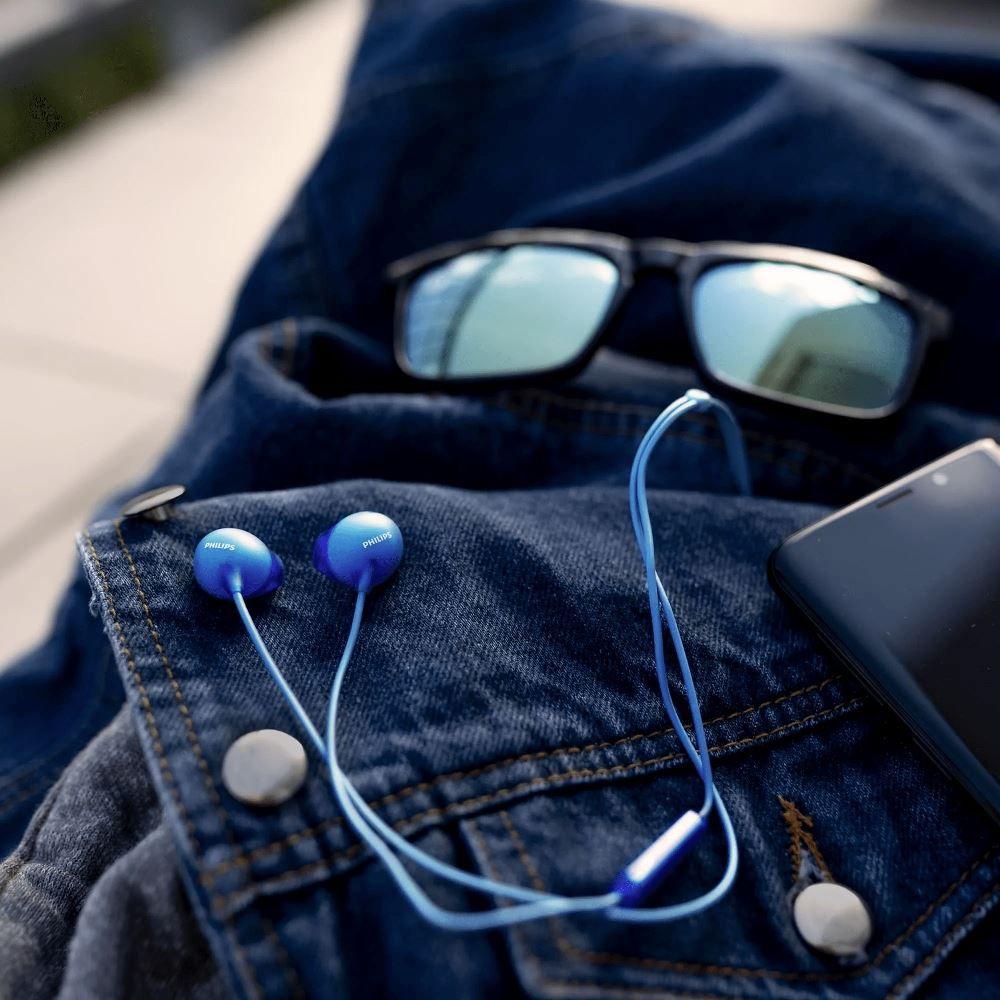 Fone de Ouvido Philips SHE2405 Azul Intra Auricular com Microfone Controle Up Beat SHE2405BL/00