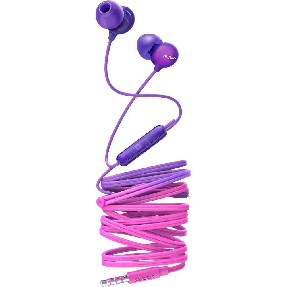 Fone de Ouvido Philips SHE2405 Roxo Rosa Intra Auricular com Microfone Controle Up Beat SHE2405PP/00