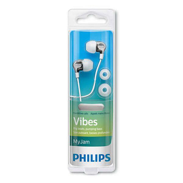 Fone de Ouvido Philips SHE3705 Branco Prata Vibes My Jam Com Microfone
