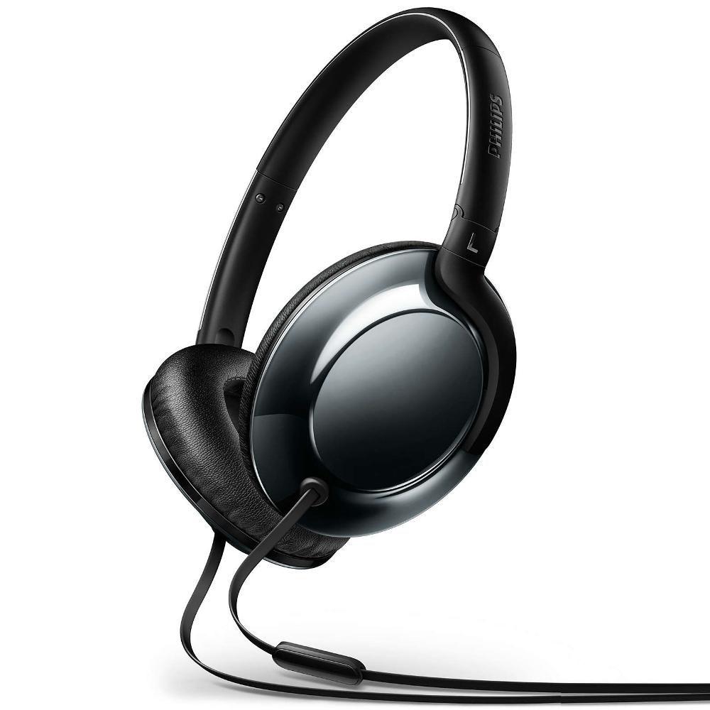 Fone de Ouvido Philips SHL4805 Preto Cinza Headset Leve Flite Everlitte Headphone com Microfone