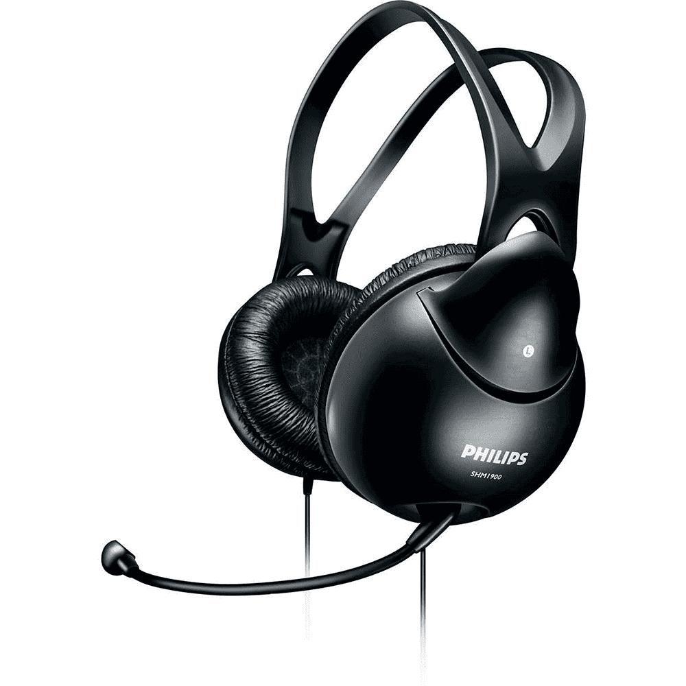 Fone de Ouvido Philips SHM1900 Preto Headset com Microfone para PC Notebook Smartphone Tablet Skype