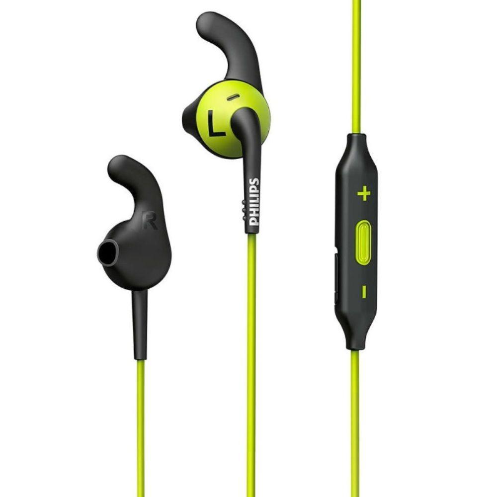 Fone de Ouvido Philips SHQ6500 Bluetooth Preto Amarelo Esportivo ActionFit à Prova de Suor