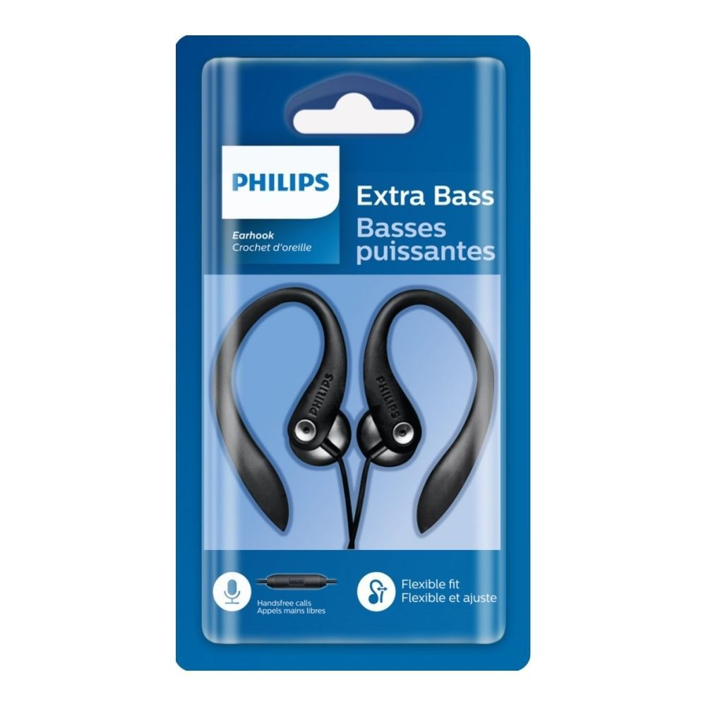 Fone de Ouvido Philips SHS3305 Preto Estilo Earbud Com Microfone Gancho para Orelha