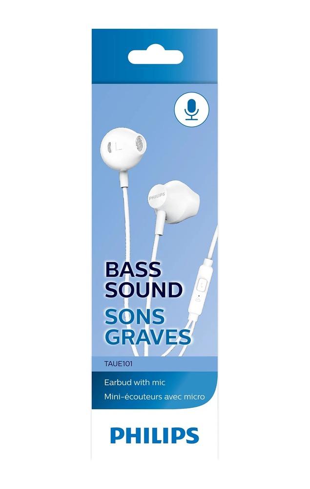 Fone de Ouvido Philips TAUE101 Branco Earbud com Microfone Grave Potente Som Nítido Leve Confortável