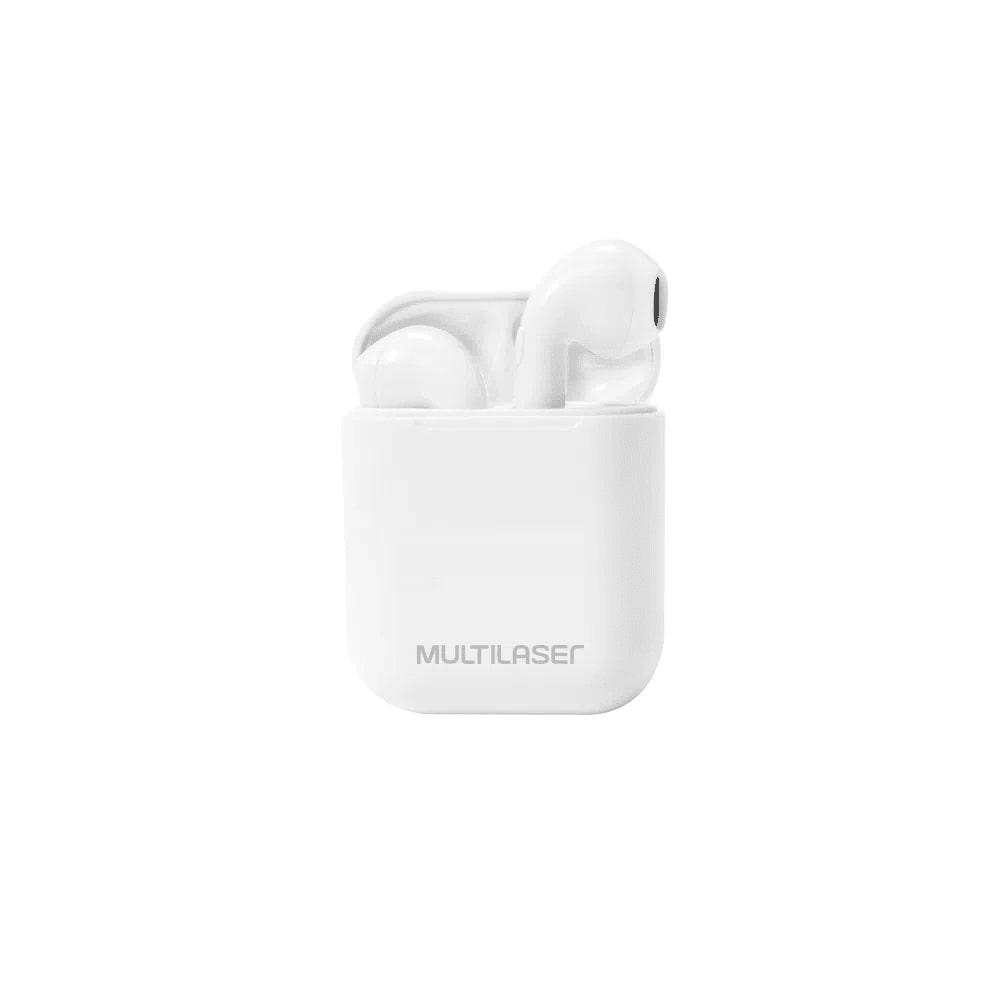 Fone de Ouvido Sem Fio Bluetooth 5.0 Multilaser Airbuds TWS PH326 Branco com Estojo para Recarga