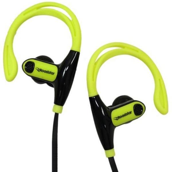 Fone de Ouvido Sem Fio Bluetooth RoadStar RS-111EPB Preto Amarelo Wireless Headset Com Microfone