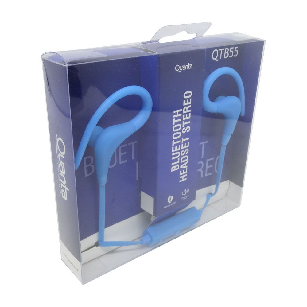 Fone de Ouvido Sem Fio Bluetooth Wireless Headset Quanta QTB55 Azul