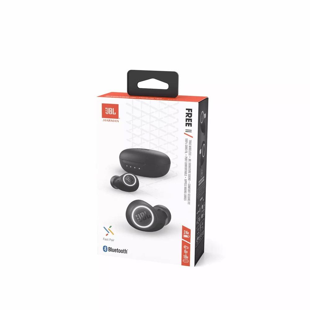 Fone de Ouvido Sem Fio JBL FREE II Preto TWS Bluetooth 5.0 Fast Pair com Estojo Carregador Wireless